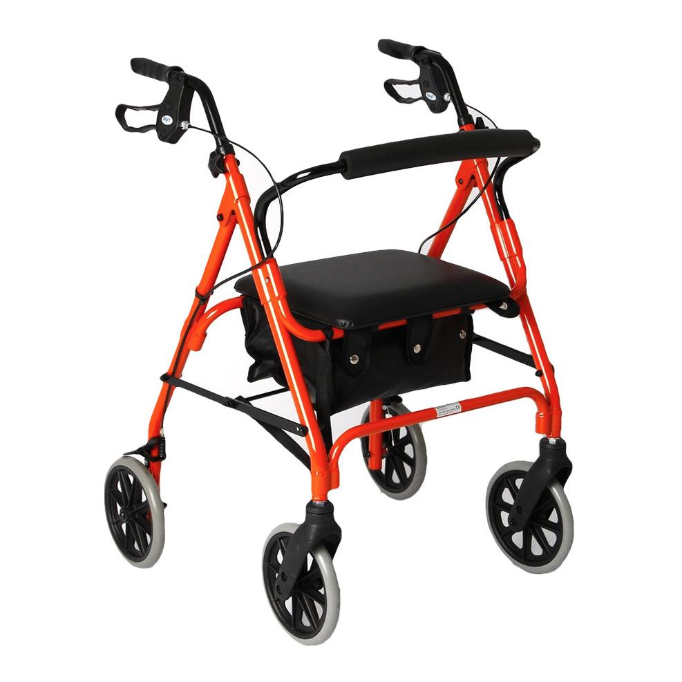 image-of-red-lightweight-Aluminium-4-Wheel-Rollator