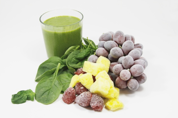 frozen fruit and a smoothie